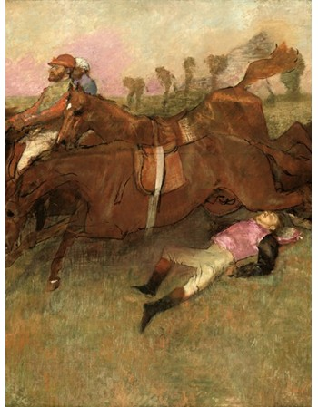 Reprodukcje obrazów Scene from the Steeplechase The Fallen Jockey - Edgar Degas