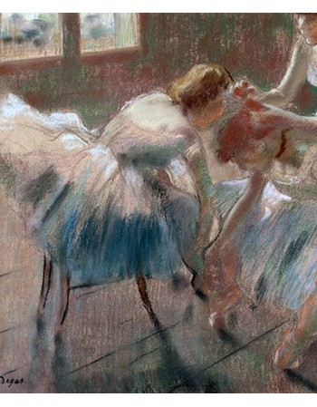 Reprodukcje obrazów Three Dancers Preparing for Class - Edgar Degas