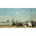 Reprodukcje obrazów Beach Scene at Trouville - Eugene Boudin