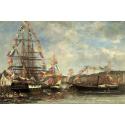 Reprodukcje obrazów Festival in the Harbor of Honfleur - Eugene Boudin