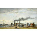Reprodukcje obrazów Jetty and Wharf at Trouville - Eugene Boudin