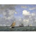 Reprodukcje obrazów Ships and Sailing Boats Leaving Le Havre - Eugene Boudin