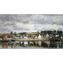 Reprodukcje obrazów Village by a River - Eugene Boudin