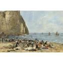 Reprodukcje obrazów Washerwomen on the Beach of Etretat - Eugene Boudin
