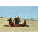 Reprodukcje obrazów Women on the Beach at Berck - Eugene Boudin