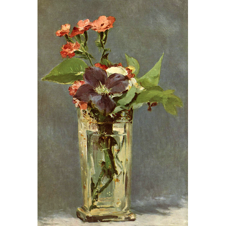 Carnations and Clematis in a Crystal Vase