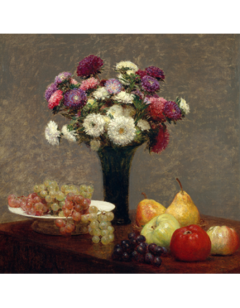 Reprodukcje obrazów Asters and Fruit on a Table - Henri Fantin-Latour