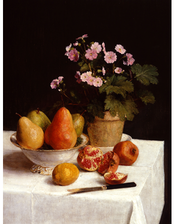 Still life primroses, pears and romenates