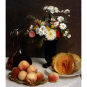 Reprodukcje obrazów Still Life with a Carafe, Flowers and Fruit - Henri Fantin-Latour