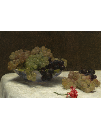 Reprodukcje obrazów Still Life with Grapes and a Carnation - Henri Fantin-Latour