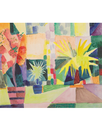Reprodukcje obrazów Garden on lake thun - August Macke
