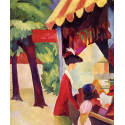 Reprodukcje obrazów In front of the hat shop woman with red jacket and child - August Macke