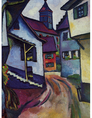 Reprodukcje obrazów Street with church in Kandern - August Macke