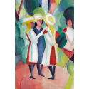 Reprodukcje obrazów Three girls in yellow straw hats I - August Macke