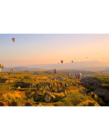 Balony przy zachodzie słońca