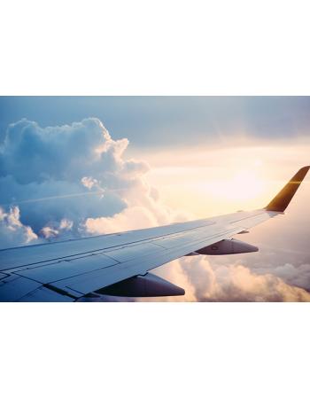 Samolot z zachodem słońca
