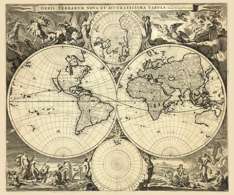 Stara Mapa Swiata Nicolao Visscher Obraz Na Plotnie Fedkolor