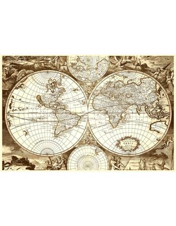 Hondius - Stara Mapa Świata