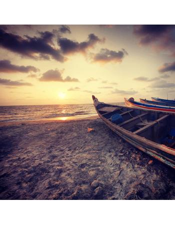 Obraz na płótnie plaża z łódkami