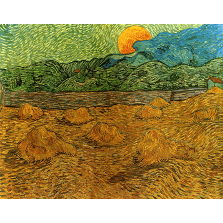 Reprodukcje obrazów Vincent van Gogh Evening landscape with rising moon