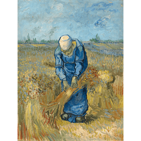 Reprodukcje obrazów Vincent van Gogh Peasant Woman Binding Sheaves (after Millet)