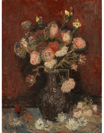 Reprodukcje obrazów Vincent van Gogh Vase with Chinese Asters and Gladioli