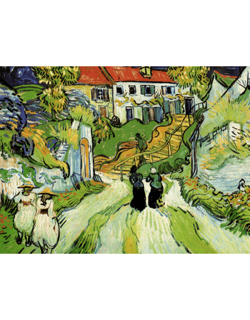 Reprodukcje obrazów Village street and steps in auvers with figures - Vincent van Gogh