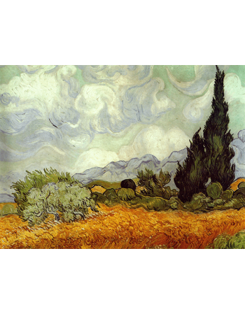 Reprodukcje obrazów Vincent van Gogh Wheat Field with Cypresses