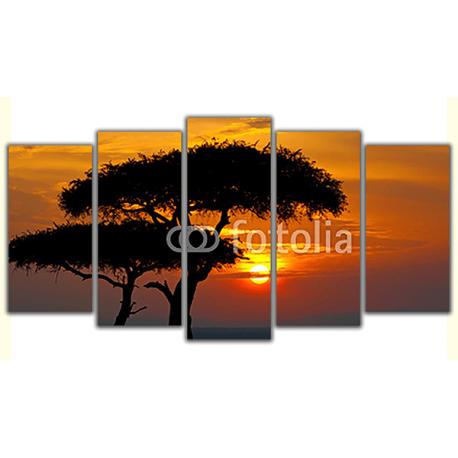 Obraz na płótnie poliptyk Afrykański zachód słońca
