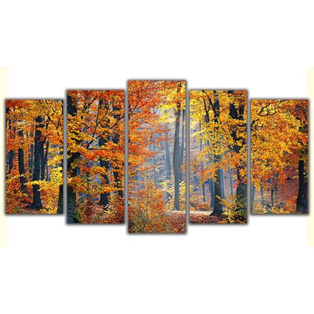Obraz na płótnie poliptyk Las w kolorach jesieni