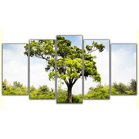 Obraz na płótnie poliptyk Zielone drzewo