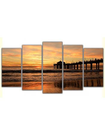 Obraz na płótnie poliptyk Pomost o zachodzie słońca