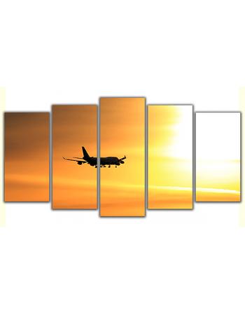 Obraz na płótnie poliptyk Samolot o zachodzie słońca