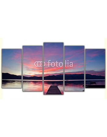 Obraz na płótnie poliptyk Pomost - Zachód słońca