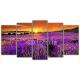 Obraz na płótnie poliptyk Zachód słońca w Prowansji - lawenda
