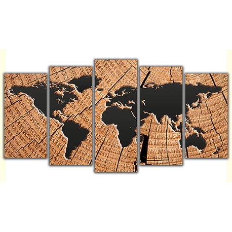 Obraz na płótnie poliptyk Drewniana mapa świata