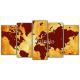 Obraz na płótnie poliptyk Pomarańczowa mapa świata