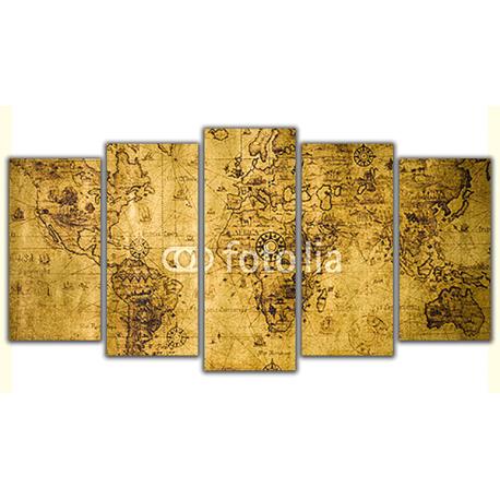 Obraz na płótnie poliptyk Stara mapa świata