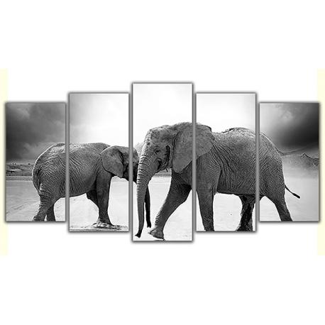 Obraz na płótnie poliptyk Słonie