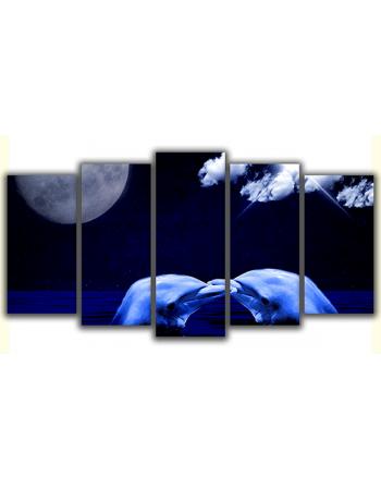 Obraz na płótnie poliptyk Delfiny przy księżycu