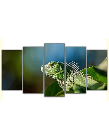 Obraz na płótnie poliptyk Zielona jaszczurka