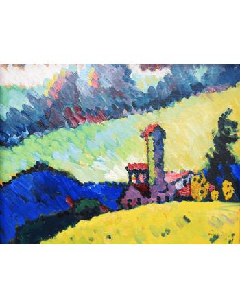 Reprodukcje obrazów Wassily Kandinsky Study for Landscape with tower