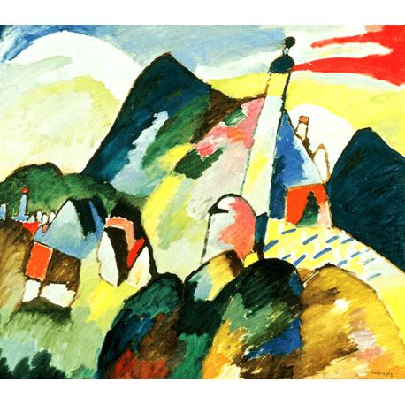 Reprodukcje obrazów Wassily Kandinsky View of Murnau with church