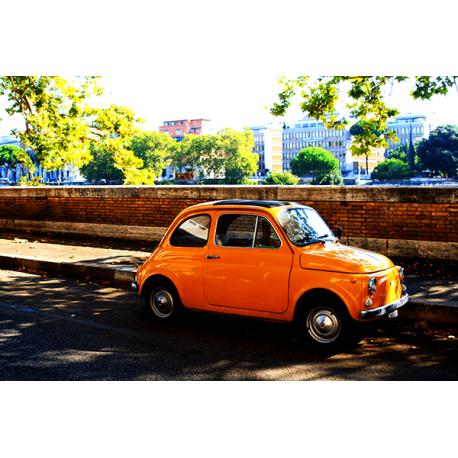 Obraz na płótnie Żółty Fiat 500