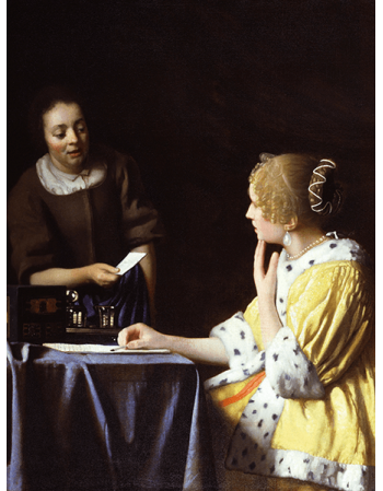 Reprodukcje obrazów Jan Vermeer Dama ze służącą