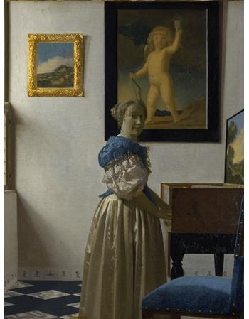 Reprodukcje obrazów Jan Vermeer Kobieta stojąca przy klawesynie