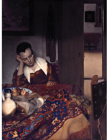 Reprodukcje obrazów Jan Vermeer Służąca śpiąca przy stole
