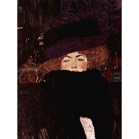Reprodukcja obrazu Gustav Klimt Lady with hat and feather boa