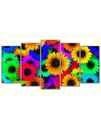 Obraz-na-płótnie-poliptyk-Kolorowe słoneczniki