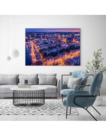 Obraz na płótnie fotoobraz Gdańsk Stare Miasto o zachodzie